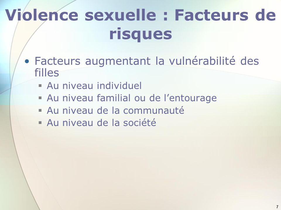 Violence sexuelle : Facteurs de risques
