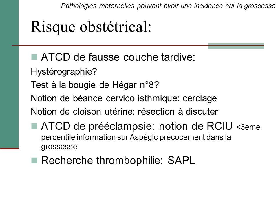 Risque obstétrical: ATCD de fausse couche tardive: