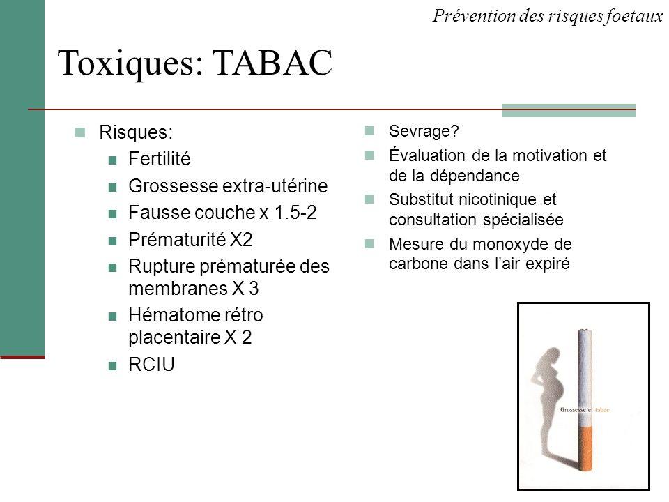 Toxiques: TABAC Prévention des risques foetaux Risques: Fertilité