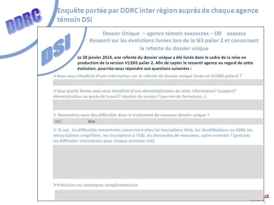 Enquête portée par DDRC inter région auprès de chaque agence témoin DSI