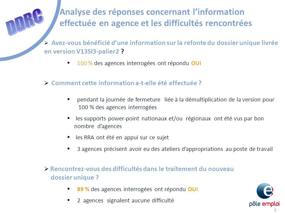 Analyse des réponses concernant l'information effectuée en agence et les difficultés rencontrées