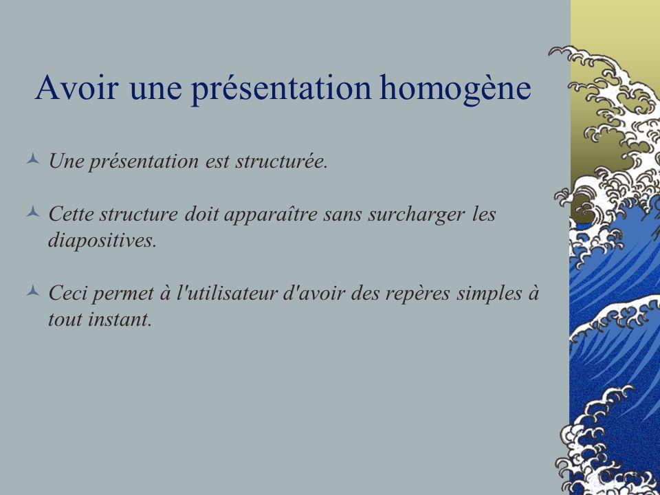Avoir une présentation homogène