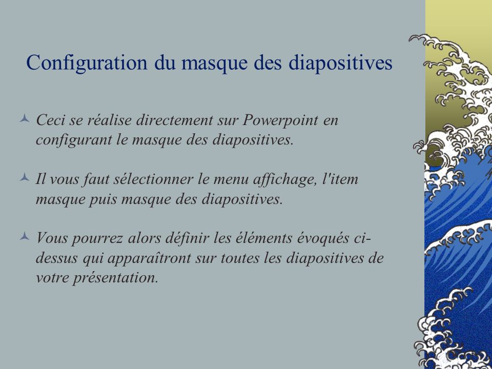 Configuration du masque des diapositives