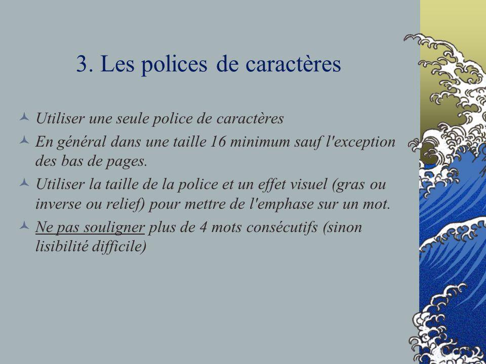 3. Les polices de caractères