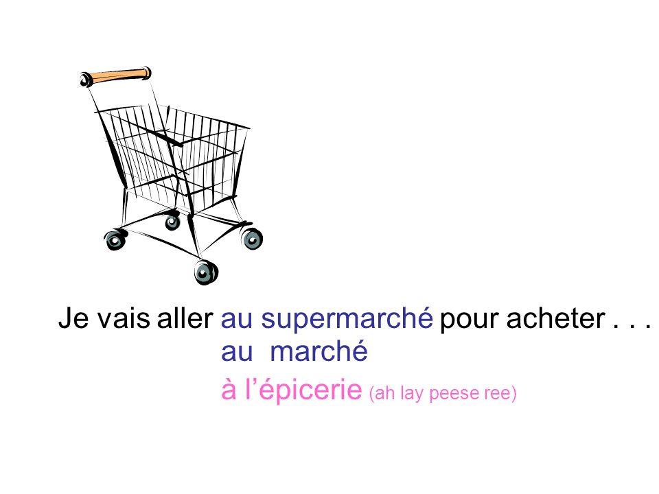 Je vais aller au supermarché pour acheter . . .