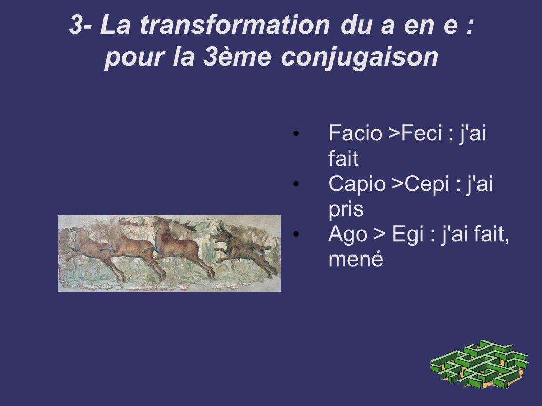 3- La transformation du a en e : pour la 3ème conjugaison
