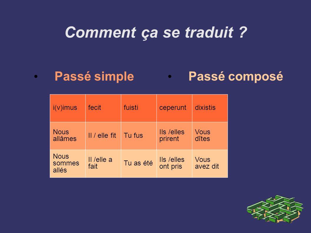 Comment ça se traduit Passé simple Passé composé i(v)imus fecit