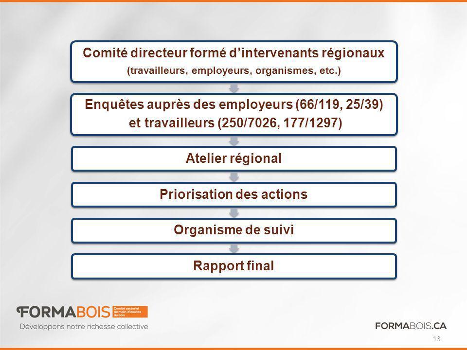Comité directeur formé d'intervenants régionaux
