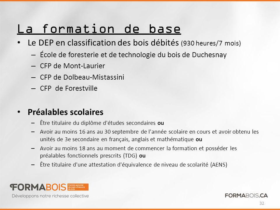 La formation de base Le DEP en classification des bois débités (930 heures/7 mois) École de foresterie et de technologie du bois de Duchesnay.