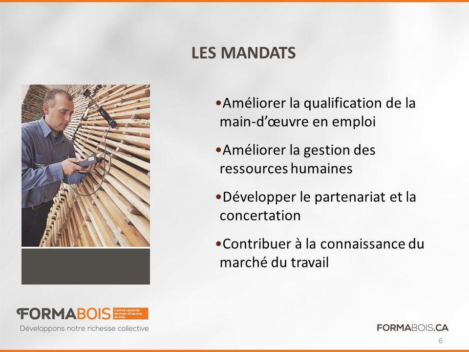 LES MANDATS Améliorer la qualification de la main-d'œuvre en emploi