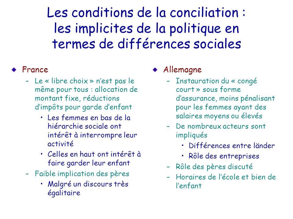 Les conditions de la conciliation : les implicites de la politique en termes de différences sociales