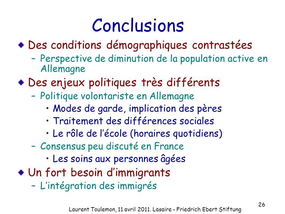 Conclusions Des conditions démographiques contrastées