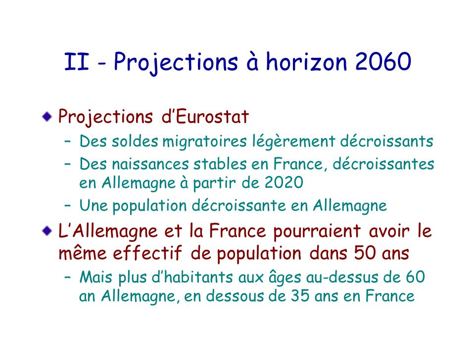 II - Projections à horizon 2060