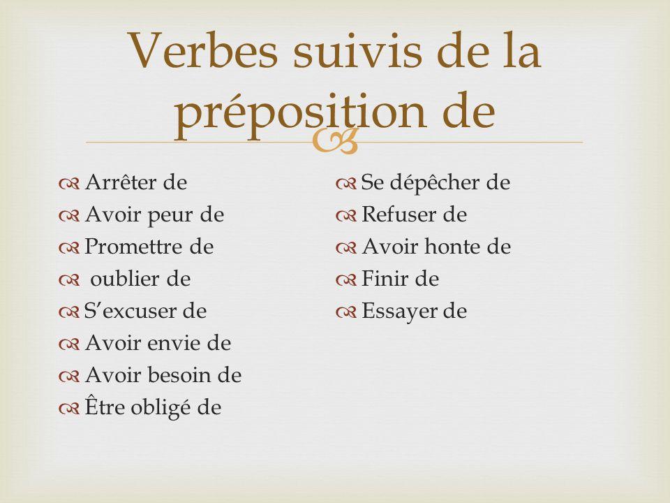 Verbes suivis de la préposition de