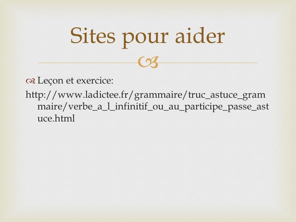 Sites pour aider Leçon et exercice: