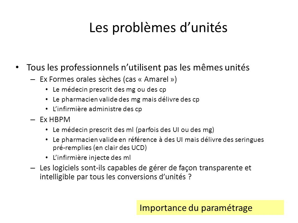 Les problèmes d'unités