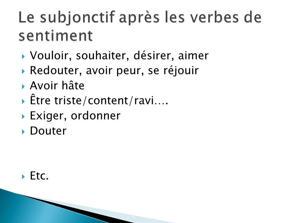 Le subjonctif après les verbes de sentiment