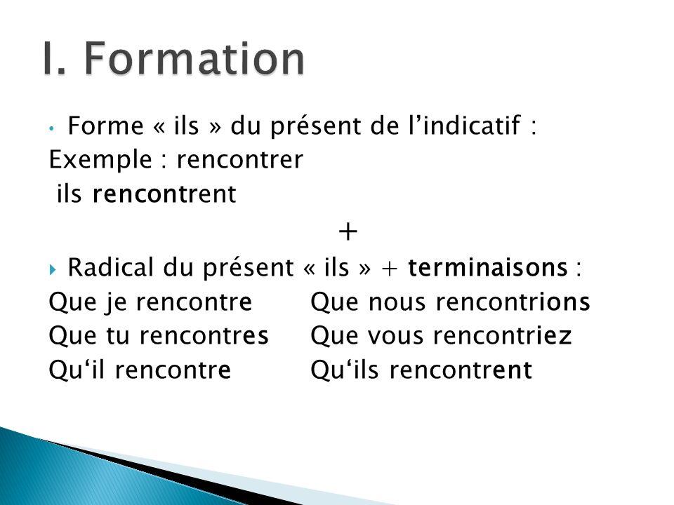 I. Formation + Forme « ils » du présent de l'indicatif :