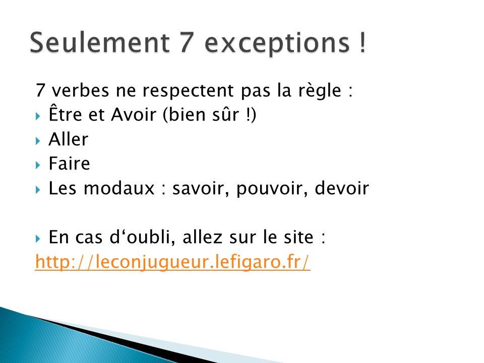 Seulement 7 exceptions ! 7 verbes ne respectent pas la règle :