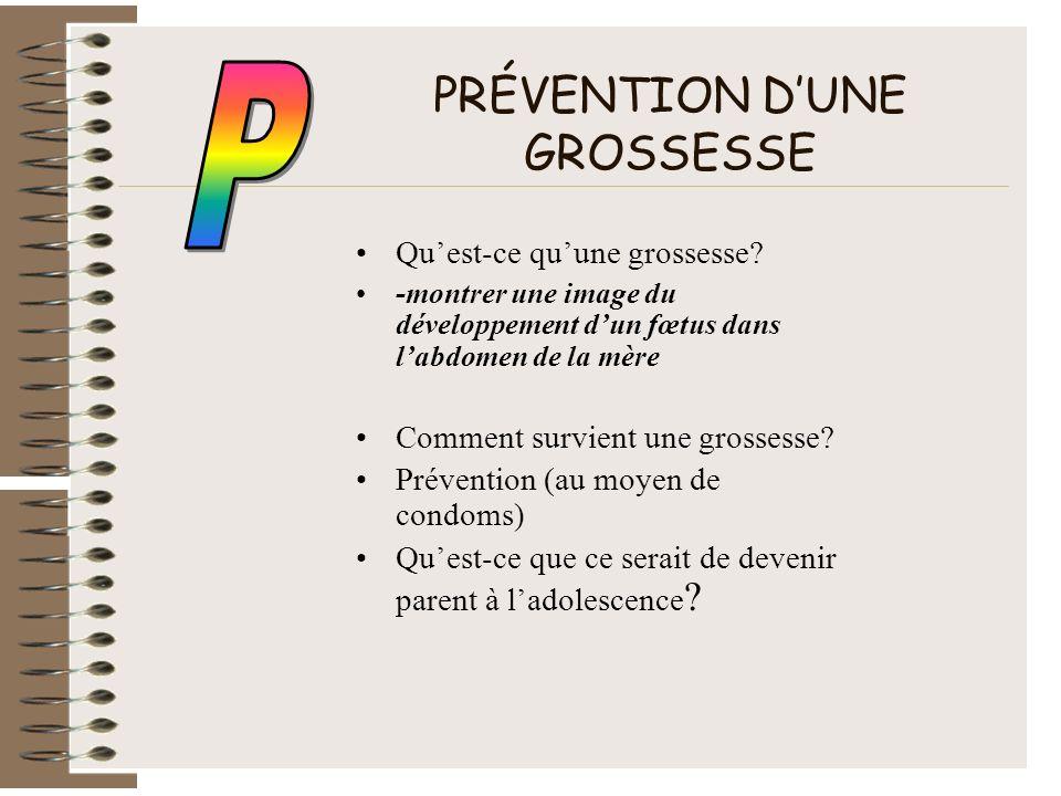 PRÉVENTION D'UNE GROSSESSE