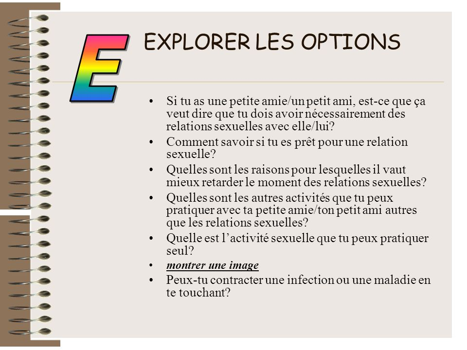 EXPLORER LES OPTIONS E.