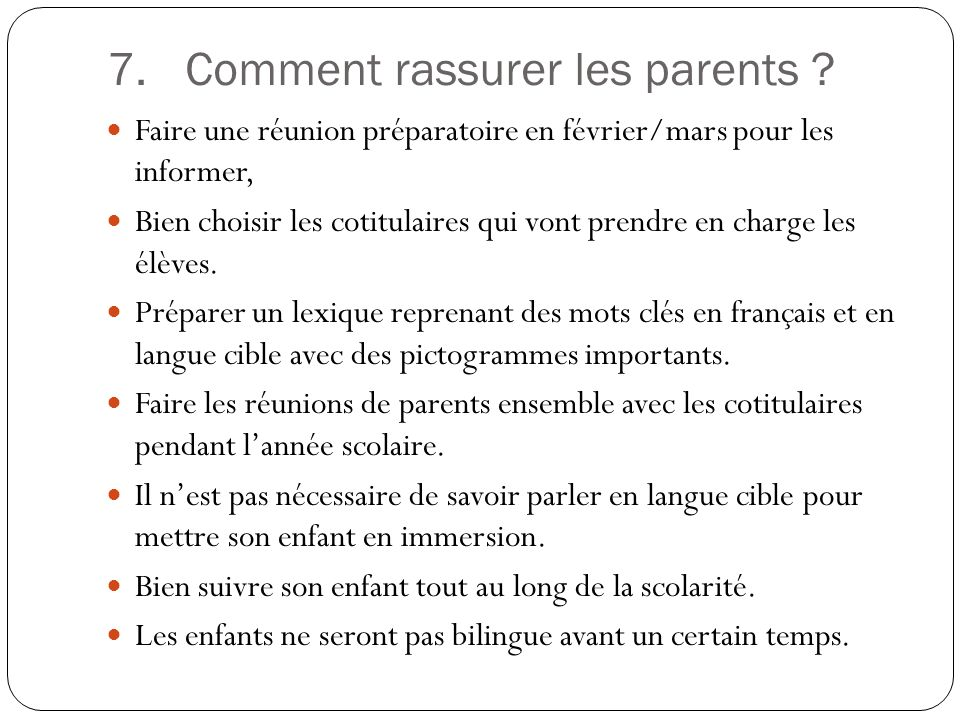 Comment rassurer les parents