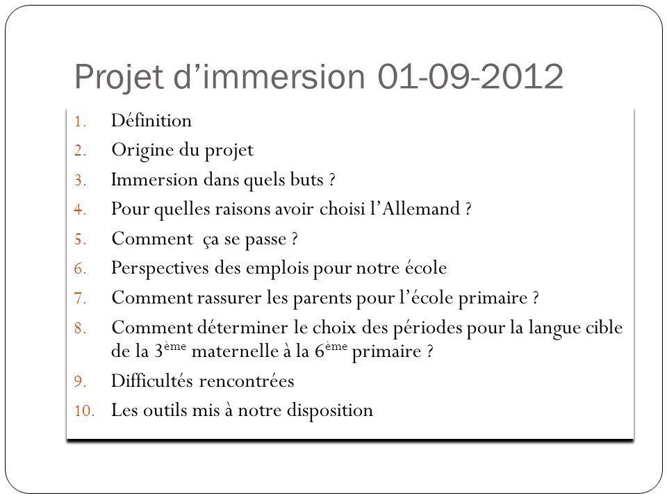 Projet d'immersion 01-09-2012 Définition Origine du projet