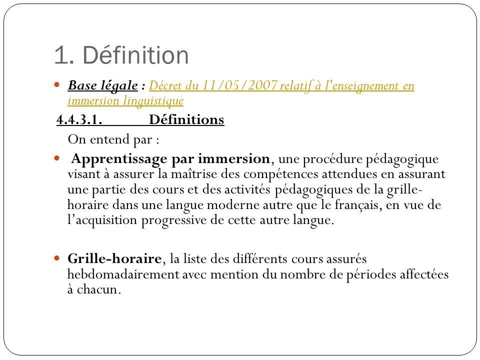 1. Définition Base légale : Décret du 11/05/2007 relatif à l enseignement en immersion linguistique.
