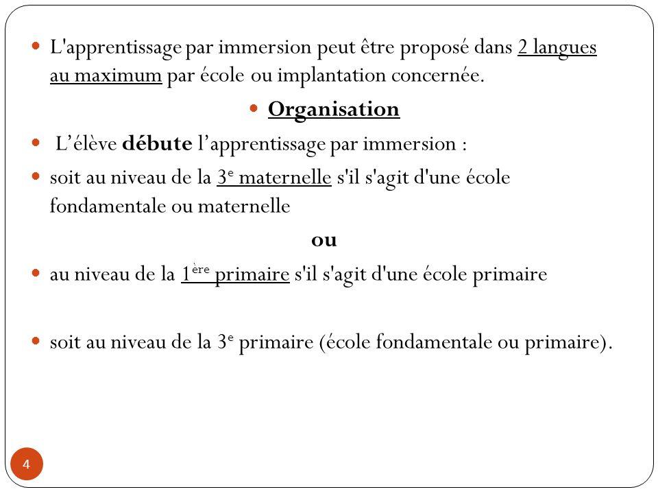 L apprentissage par immersion peut être proposé dans 2 langues au maximum par école ou implantation concernée.
