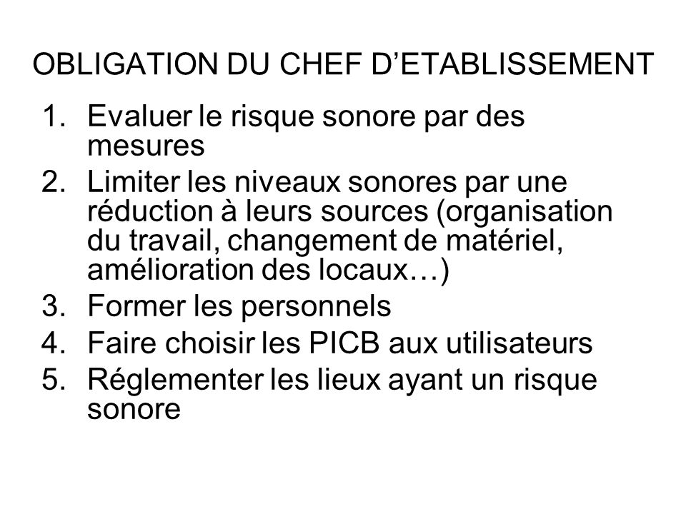 OBLIGATION DU CHEF D'ETABLISSEMENT