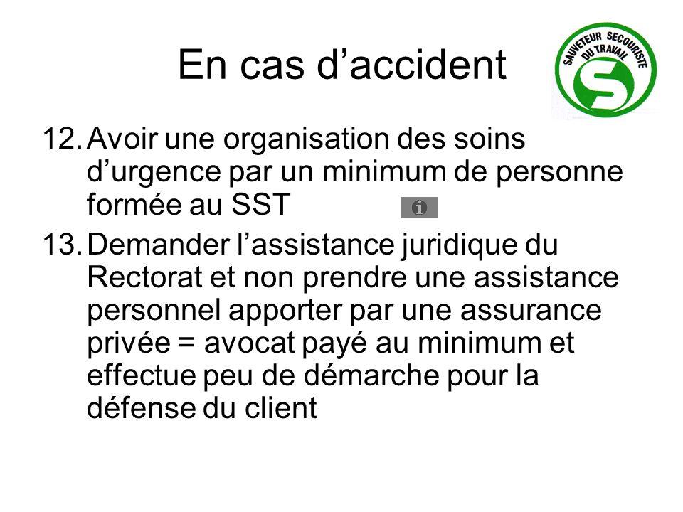 En cas d'accident Avoir une organisation des soins d'urgence par un minimum de personne formée au SST.