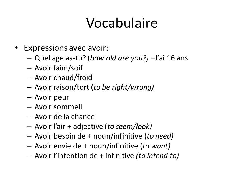 Vocabulaire Expressions avec avoir: