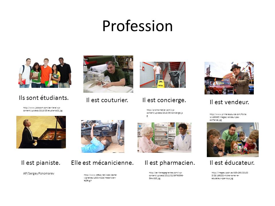 Profession Ils sont étudiants. Il est couturier. Il est concierge.