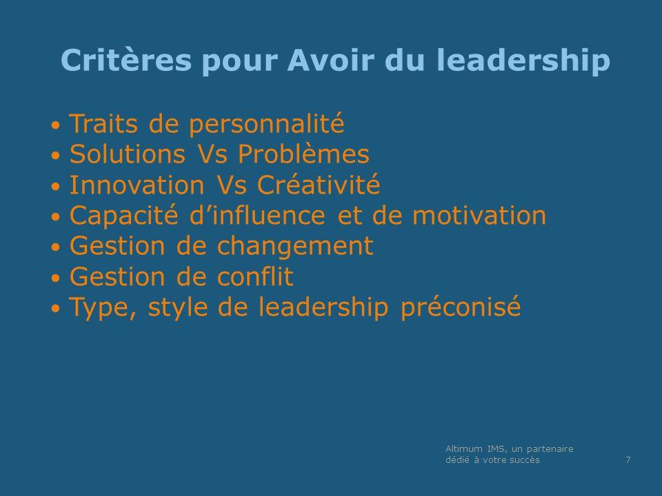 Critères pour Avoir du leadership