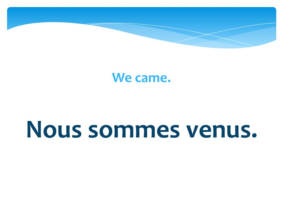We came. Nous sommes venus.