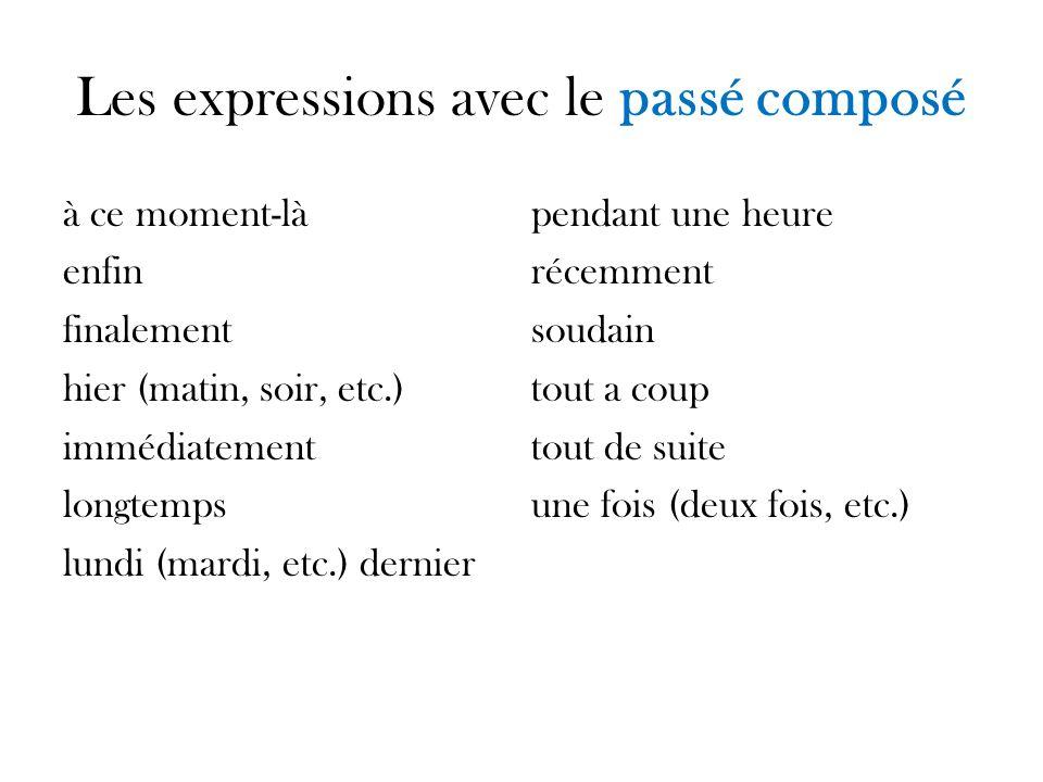 Les expressions avec le passé composé