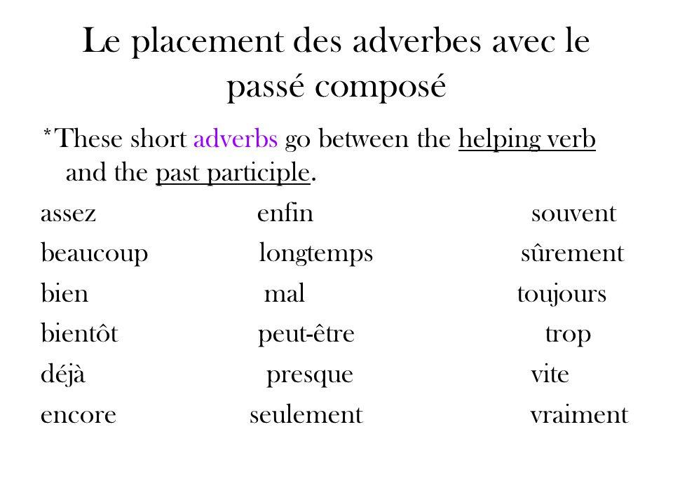 Le placement des adverbes avec le passé composé