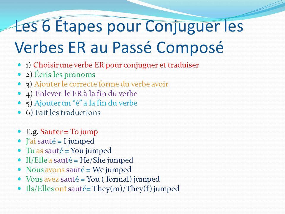Les 6 Étapes pour Conjuguer les Verbes ER au Passé Composé