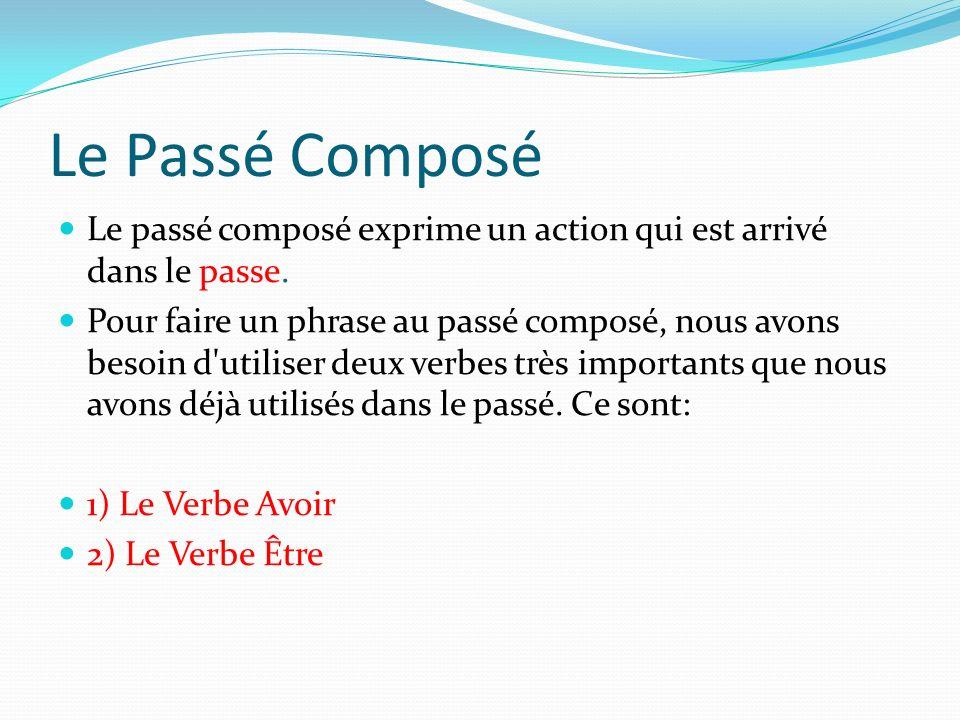 Le Passé Composé Le passé composé exprime un action qui est arrivé dans le passe.