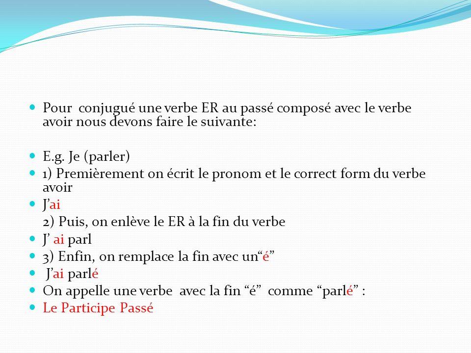 Pour conjugué une verbe ER au passé composé avec le verbe avoir nous devons faire le suivante: