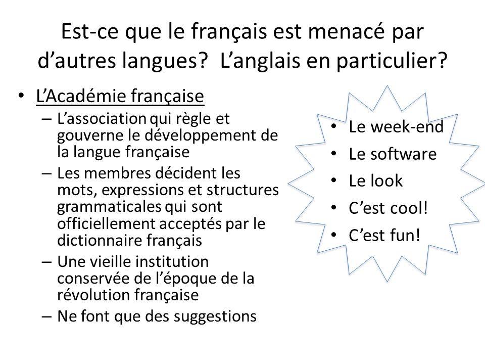 Est-ce que le français est menacé par d'autres langues