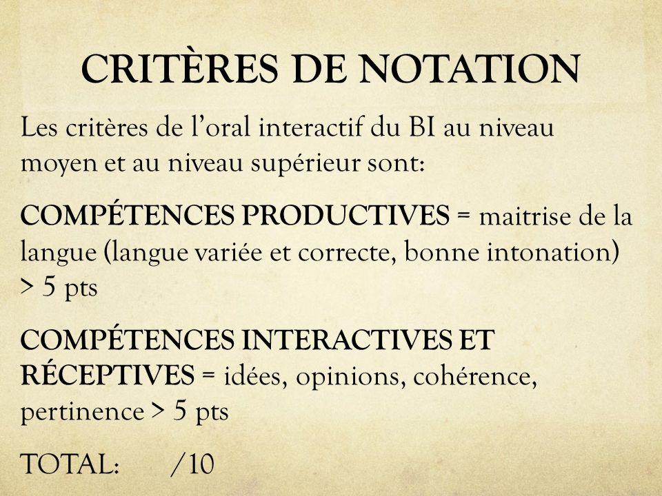 CRITÈRES DE NOTATION