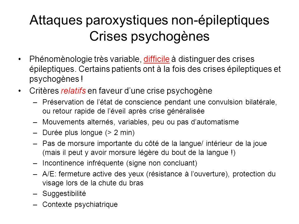 Attaques paroxystiques non-épileptiques Crises psychogènes