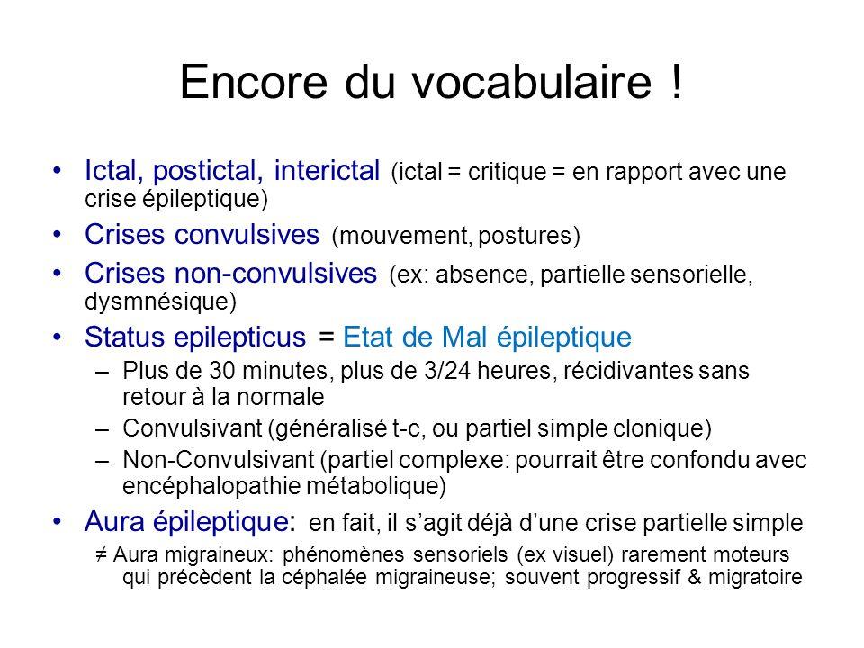 Encore du vocabulaire ! Ictal, postictal, interictal (ictal = critique = en rapport avec une crise épileptique)