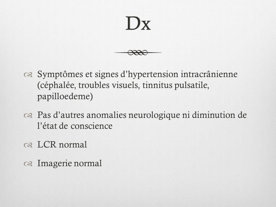 Dx Symptômes et signes d'hypertension intracrânienne (céphalée, troubles visuels, tinnitus pulsatile, papilloedeme)