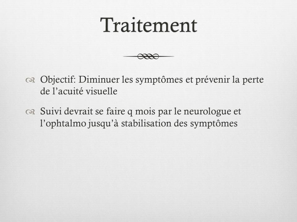 Traitement Objectif: Diminuer les symptômes et prévenir la perte de l'acuité visuelle.