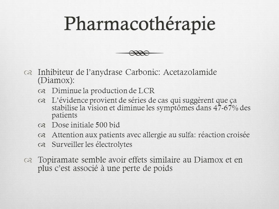 Pharmacothérapie Inhibiteur de l'anydrase Carbonic: Acetazolamide (Diamox): Diminue la production de LCR.