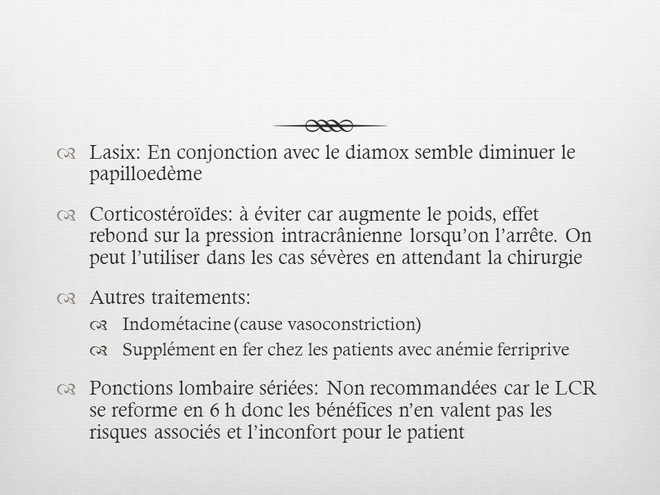 Lasix: En conjonction avec le diamox semble diminuer le papilloedème