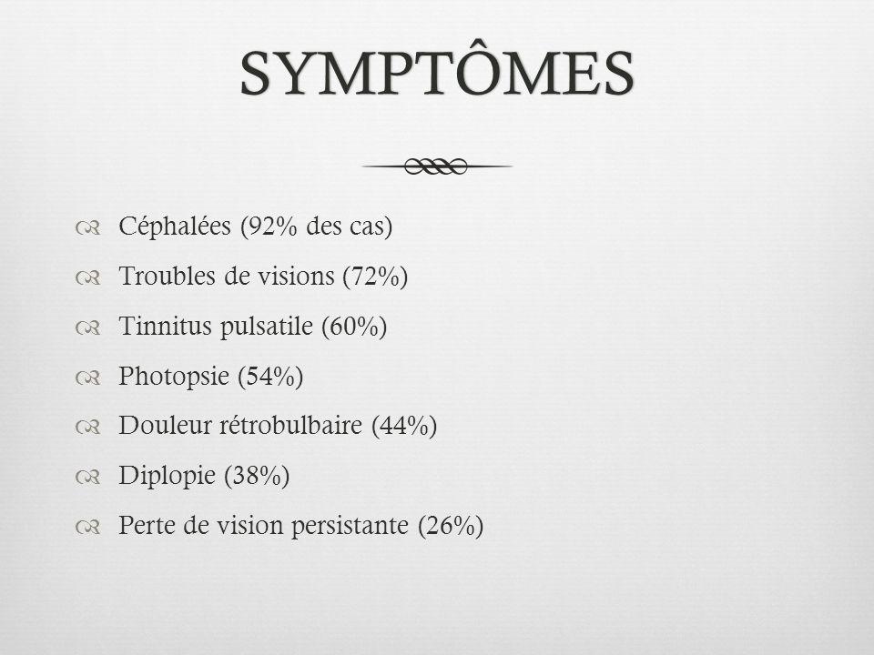 SYMPTÔMES Céphalées (92% des cas) Troubles de visions (72%)