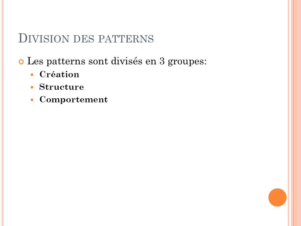 Division des patterns Les patterns sont divisés en 3 groupes: Création
